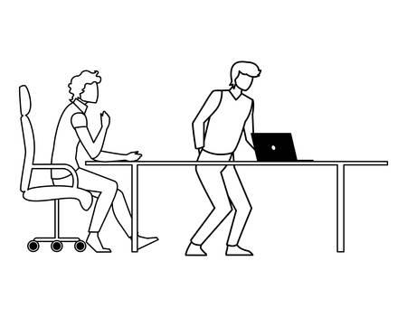 couple of businessmen seated in the office scene vector illustration design Illustration