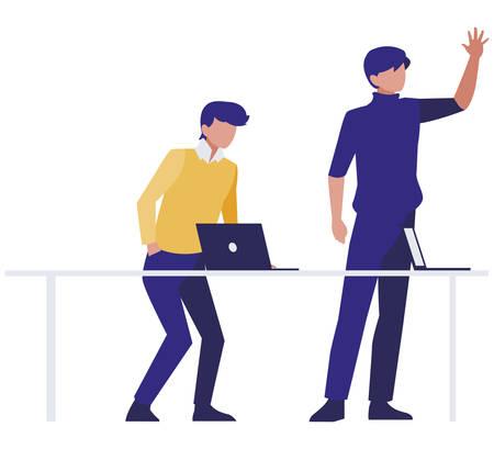 couple of businessmen in the office scene vector illustration design Illustration