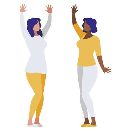 elegante interraciale zakenvrouwen avatars karakters vector illustratie ontwerp