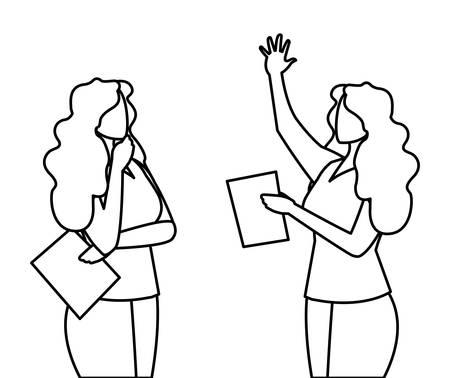 elegant businesswomen avatars characters vector illustration design