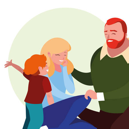 parents with son family avatar character vector illustration design