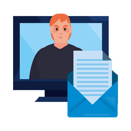 hacker email computer cybersecurity data protection vector illustration