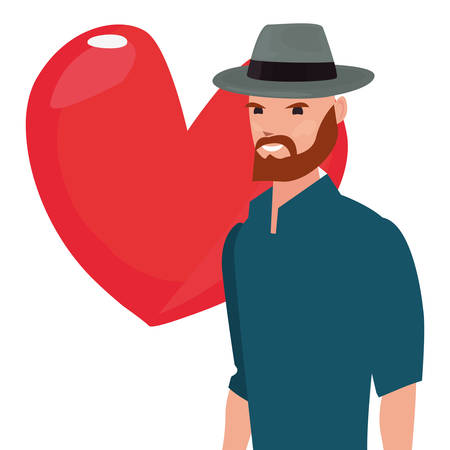 dad wearing hat love hearts happy fathers day vector illustration