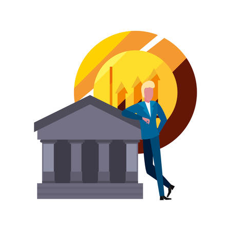 businessman coin money bank vector illustration design Standard-Bild - 122396158