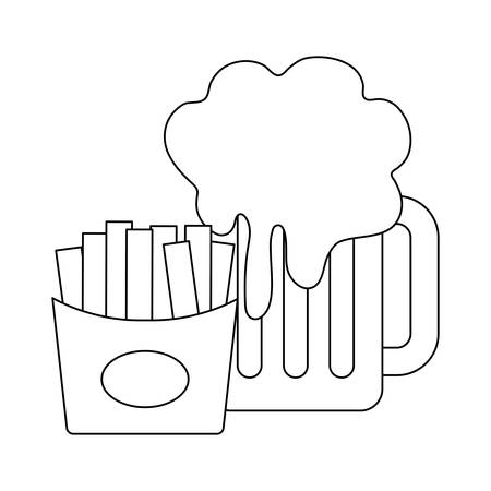 jar beer with french fries isolated icon vector illustration design