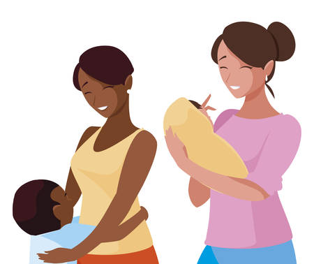interracial mothers with little kids characters vector illustration design Çizim