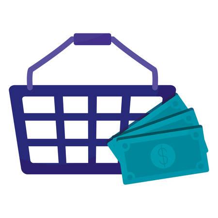 shopping basket with bills dollars vector illustration design