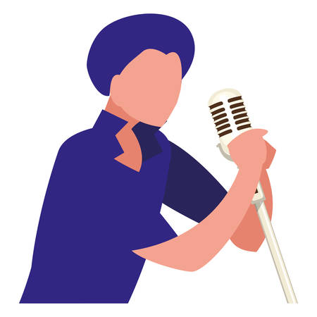 Sänger mit Mikrofoncharakter-Vektor-Illustrationsdesign