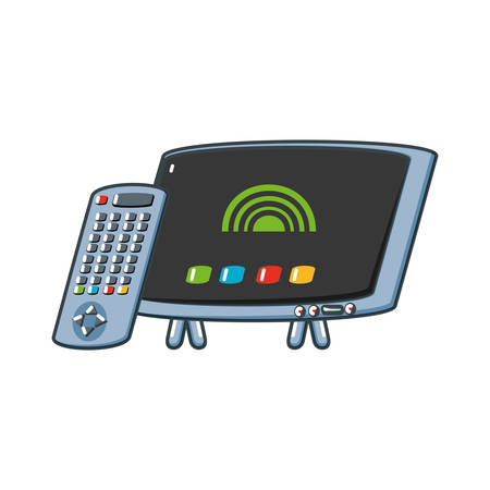 tv portable with remote control vector illustration design