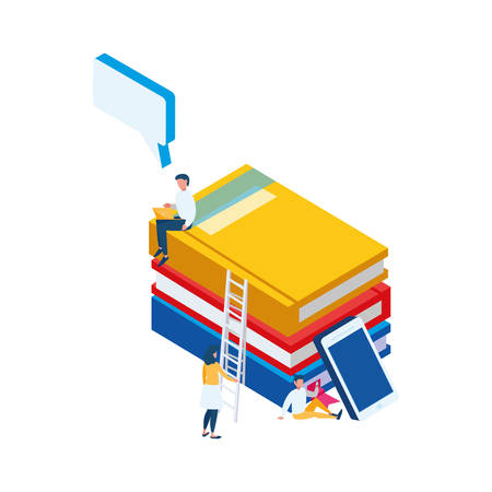 pile text books with smartphone and people vector illustration design