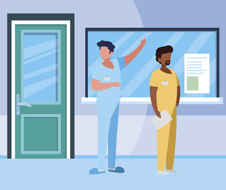 interracial male medicine workers in hospital reception vector illustration design
