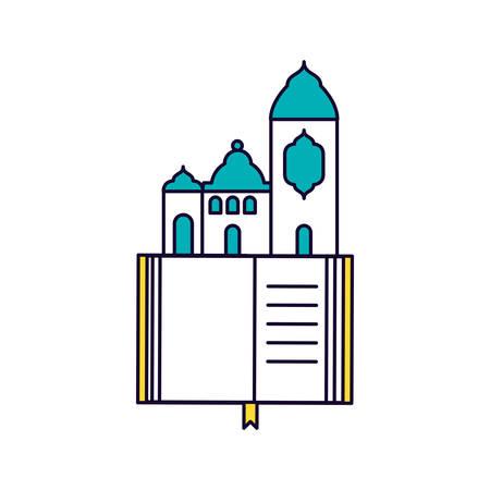 koran book with mosque castle ramadan kareem vector illustration design Imagens - 122230004