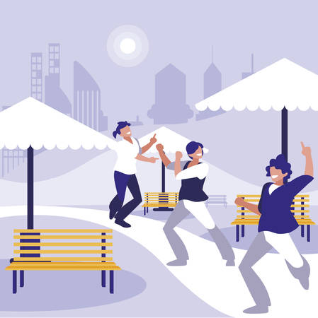 young dancers group dancing in the park vector illustration design