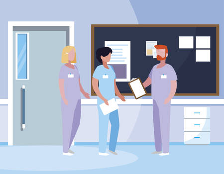 group medicine workers in hospital corridor vector illustration design 写真素材 - 122258981