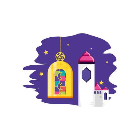 Ramadan Kareem lamp with mosque castle vector illustration design Illustration