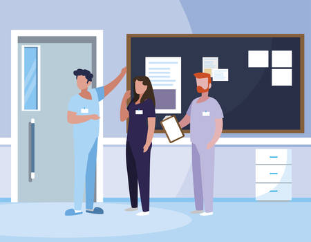 group medicine workers in hospital corridor vector illustration design