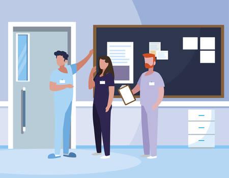 group medicine workers in hospital corridor vector illustration design