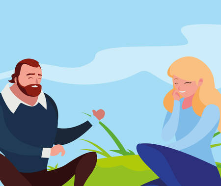 young couple seated in the field vector illustration design Ilustração