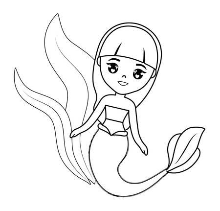 cute mermaid with seaweed vector illustration design