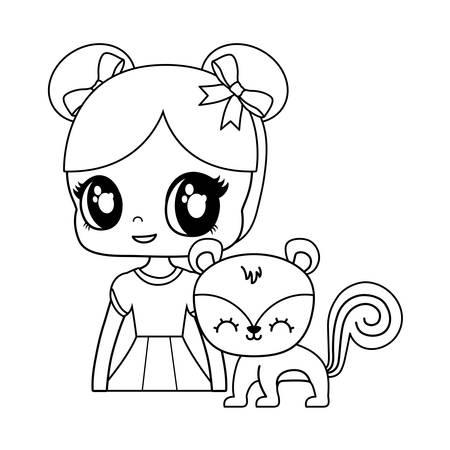cute little doll with chipmunk animal vector illustration design