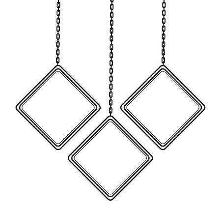 set signage hanging isolated icon vector illustration design