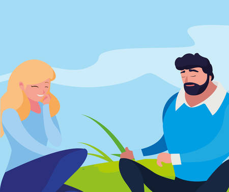 young couple seated in the field vector illustration design Vectores