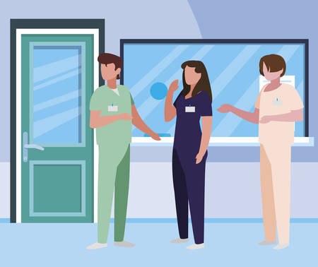 group medicine workers in hospital reception vector illustration design