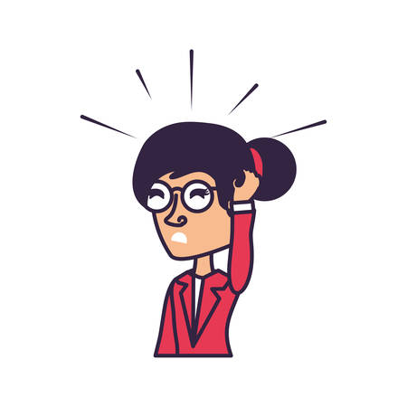 business woman stressed avatar character vector illustration design