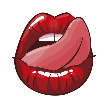 sexy female lips with tongue out pop art style vector illustration design