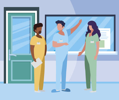 interracial group medicine workers in hospital reception vector illustration design Stok Fotoğraf - 122308370