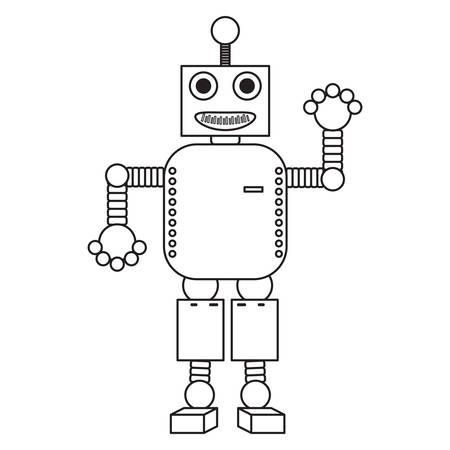 cartoon robot icon over white background black and white design vector illustration Illustration