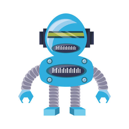 cartoon robot icon over white background colorful design vector illustration