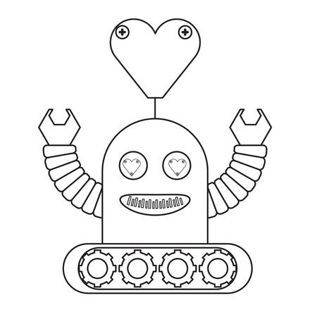 cartoon robot icon over white background black and white design vector illustration Иллюстрация
