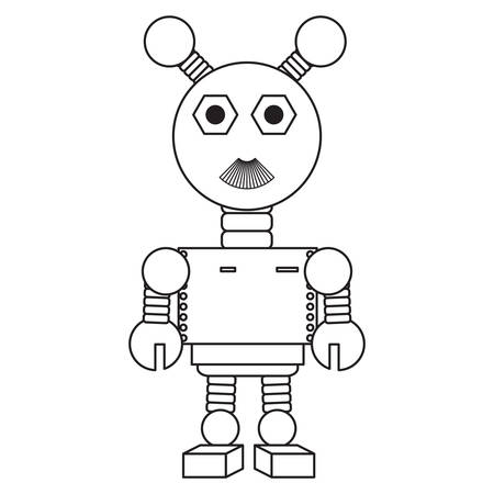 Icono de robot de dibujos animados sobre fondo blanco Ilustración de vector de diseño en blanco y negro
