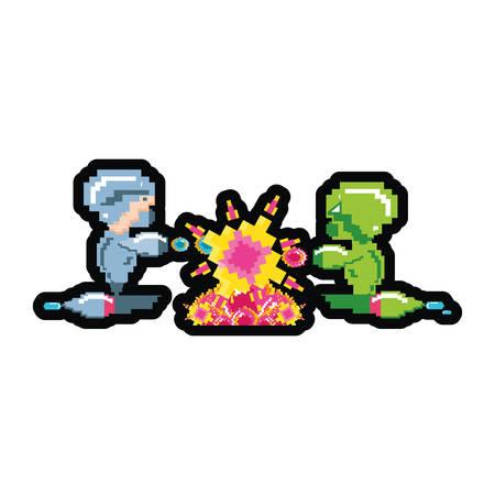 Avatares de videojuegos pixelados, diseño de ilustraciones vectoriales Ilustración de vector