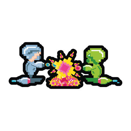 video game avatars pixelated vector illustration design