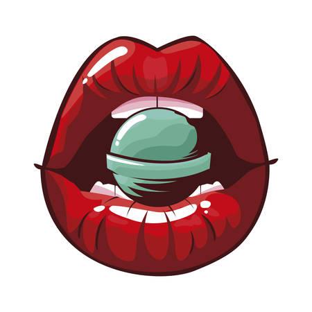 sexy female lips with lollipop pop art style vector illustration design Ilustração