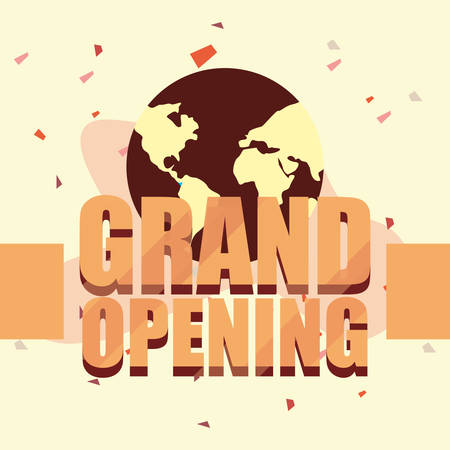 commercial grand opening advertising vector illustration design