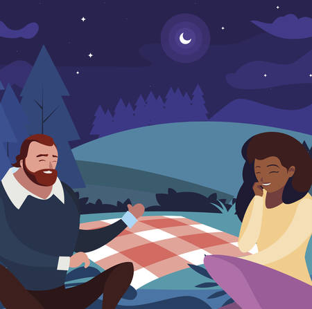 interracial young couple seated in the field picnic day vector illustration design Zdjęcie Seryjne - 122325695
