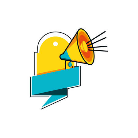 megaphone sound with ribbon and tag commercial vector illustration design