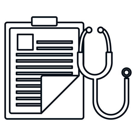 medical order checklist with stethoscope vector illustration design