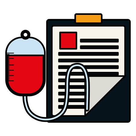 medical order checklist with blood bag vector illustration design Illustration
