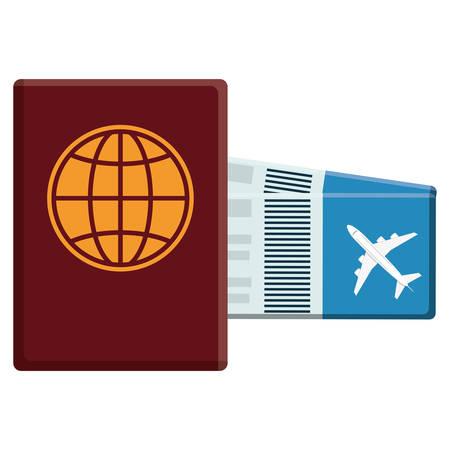passport document with tickets flight vector illustration design