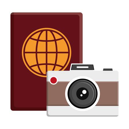 passport document with camera photographic vector illustration design