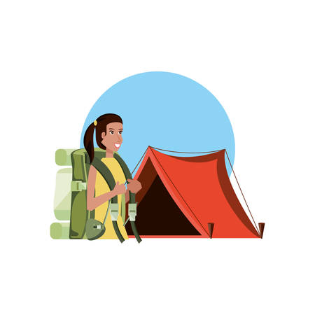 traveler woman with travel bag and tent camping vector illustration design