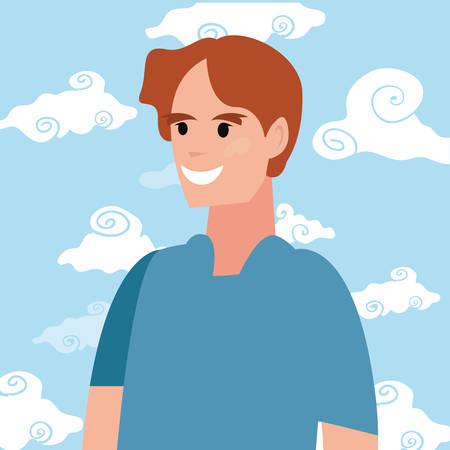 man character portrait sky background vector illustration