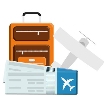 suitcase travel vacations with airplane and tickets vector illustration design