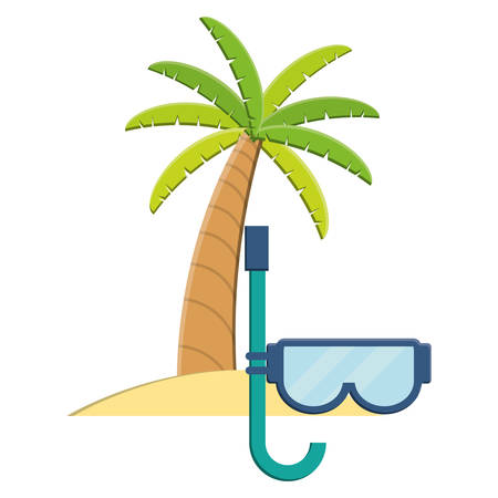 trees palms beach scene with snorkel vector illustration design 免版税图像 - 122351993