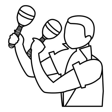 black tropical musician playing maracas character vector illustration design