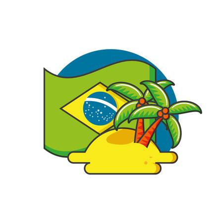flag of brazil with tree palm vector illustration design Illustration